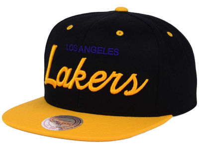 Los Angeles Lakers Mitchell and Ness NBA Old Cool Script Snapback Cap