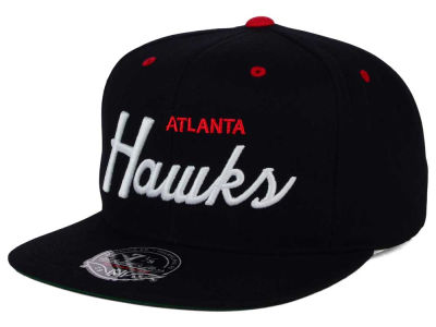Atlanta Hawks Mitchell and Ness NBA Old Cool Script Fitted Cap