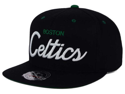 Boston Celtics Mitchell and Ness NBA Old Cool Script Fitted Cap