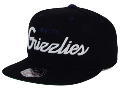 Memphis Grizzlies Mitchell and Ness NBA Old Cool Script Fitted Cap
