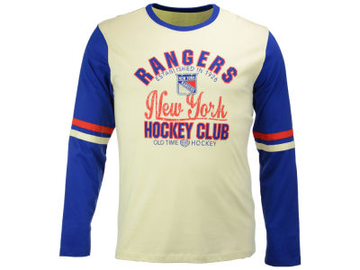 New York Rangers Old Time Hockey NHL Men's Chisel Long Sleeve T-Shirt