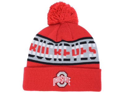 Ohio State Buckeyes J America NCAA Full Stripe Text Pom Knit