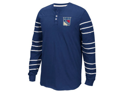 New York Rangers Reebok NHL Men's Long Sleeve Henley Shirt