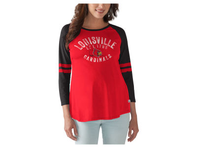 Louisville Cardinals GIII NCAA Women's Maternity Huddle Long Sleeve Raglan T-Shirt