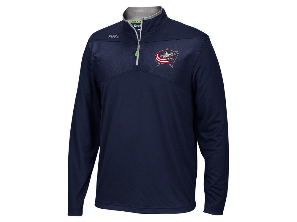 Columbus Blue Jackets Reebok NHL Men's Center Ice 1/4 Zip Pullover ...