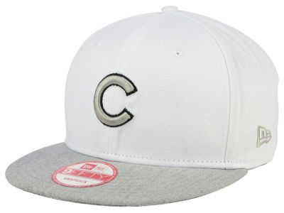 Chicago Cubs New Era MLB White Heather Gray Black 9FIFTY Snapback Cap