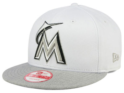 Miami Marlins New Era MLB White Heather Gray Black 9FIFTY Snapback Cap