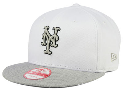New York Mets New Era MLB White Heather Gray Black 9FIFTY Snapback Cap