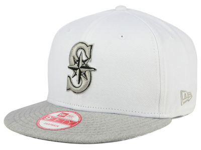 Seattle Mariners New Era MLB White Heather Gray Black 9FIFTY Snapback Cap