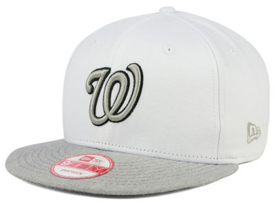 Washington Nationals New Era MLB White Heather Gray Black 9FIFTY Snapback Cap