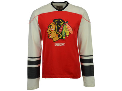 Chicago Blackhawks CCM NHL Men's Applique Crew Long Sleeve T-Shirt