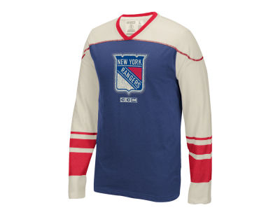 New York Rangers Reebok NHL Men's Applique Crew Long Sleeve T-Shirt