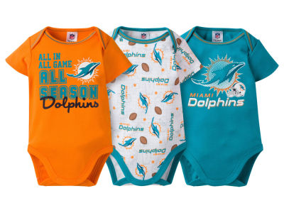 Miami Dolphins NFL Infant 3 Piece Creeper Set