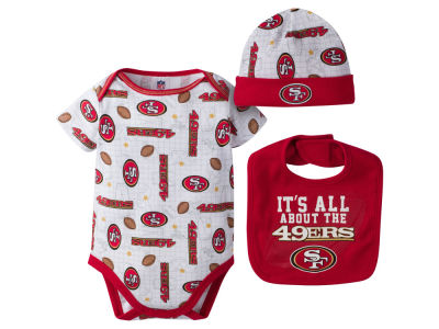 San Francisco 49ers NFL Newborn 3 Pc Set Bib and Cap Set