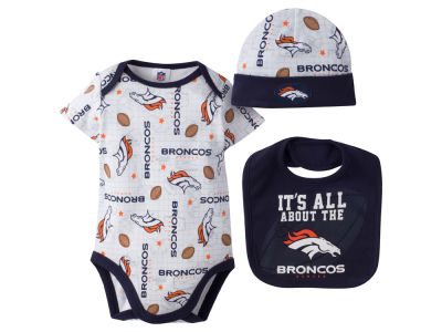 Denver Broncos NFL Newborn 3 Pc Set Bib and Cap Set