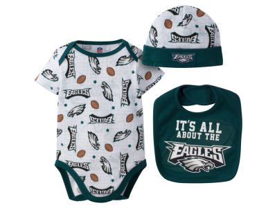 Philadelphia Eagles NFL Newborn 3 Pc Set Bib and Cap Set