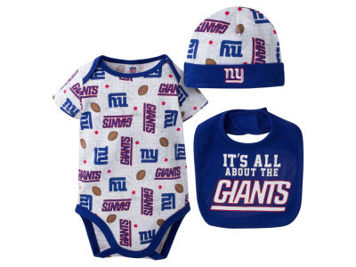New York Giants NFL Newborn 3 Pc Set Bib and Cap Set