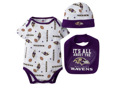 Baltimore Ravens NFL Newborn 3 Pc Set Bib and Cap Set