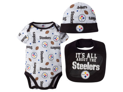 Pittsburgh Steelers NFL Newborn 3 Pc Set Bib and Cap Set