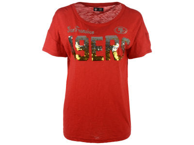 San Francisco 49ers GIII NFL Women's In The Game Sequin T-Shirt
