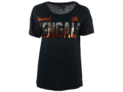 Cincinnati Bengals GIII NFL Women's In The Game Sequin T-Shirt