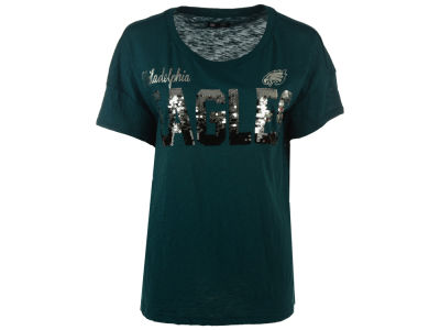 Philadelphia Eagles GIII NFL Women's In The Game Sequin T-Shirt