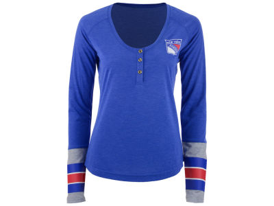 New York Rangers Reebok NHL Women's Stripe Henley Long Sleeve T-Shirt
