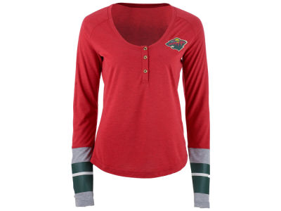 Minnesota Wild Reebok NHL Women's Stripe Henley Long Sleeve T-Shirt