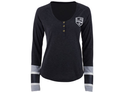 Los Angeles Kings Reebok NHL Women's Stripe Henley Long Sleeve T-Shirt