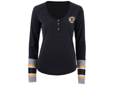 Boston Bruins Reebok NHL Women's Stripe Henley Long Sleeve T-Shirt