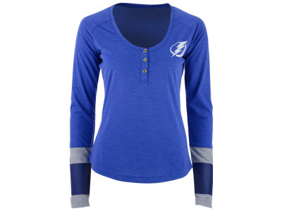 Tampa Bay Lightning Reebok NHL Women's Stripe Henley Long Sleeve T-Shirt