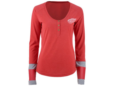 Detroit Red Wings Reebok NHL Women's Stripe Henley Long Sleeve T-Shirt