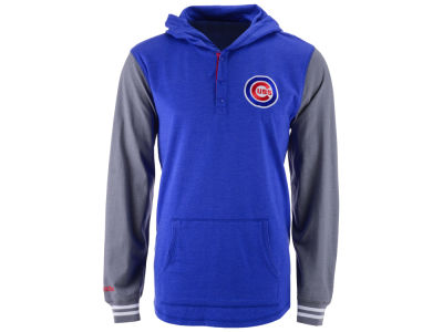 Chicago Cubs Mitchell and Ness MLB Men's Mid-Season Hooded Long Sleeved T-Shirt