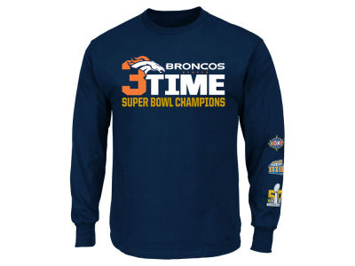 Denver Broncos NFL Super Bowl 50 3-Time Champ Long Sleeve T-Shirt