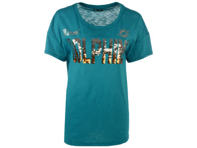 Miami Dolphins GIII NFL Women's In The Game Sequin T-Shirt