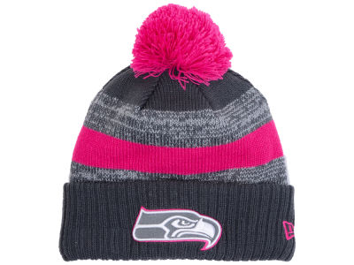 Seattle Seahawks New Era NFL Breast Cancer Awareness Official Pom Knit
