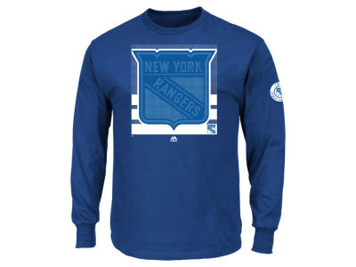 New York Rangers Majestic NHL Men's Slashing Long Sleeve T-shirt