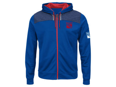 New York Rangers Majestic NHL Men's Hashmarks Full Zip Hooded Jacket