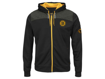 Boston Bruins Majestic NHL Men's Hashmarks Full Zip Hooded Jacket
