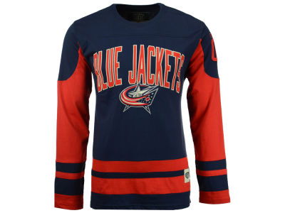 Columbus Blue Jackets Old Time Hockey NHL Men's Dufferin Hooded Long Sleeve T-Shirt