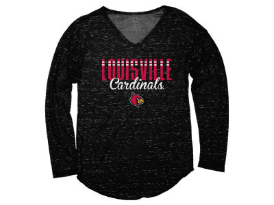Louisville Cardinals Blue 84 NCAA Women's Confetti Long Sleeve V-Neck T-Shirt