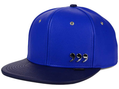 Three Commas Blue Navy Faux Leather Cap