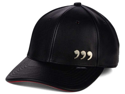 Three Commas Black Red Faux Leather Cap