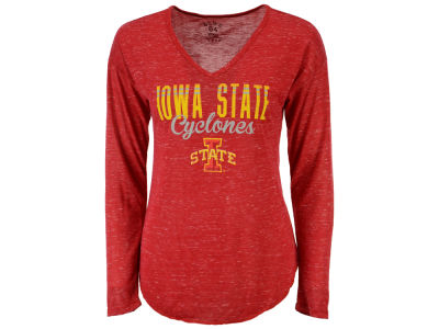 Iowa State Cyclones Blue 84 NCAA Women's Confetti Long Sleeve V-Neck T-Shirt