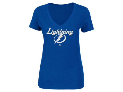 Tampa Bay Lightning Majestic NHL Women's Match Penalty Glitter T-Shirt
