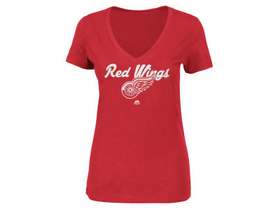 Detroit Red Wings Majestic NHL Women's Match Penalty Glitter T-Shirt