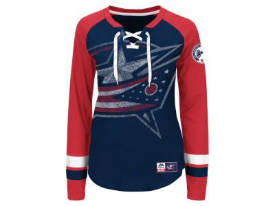 Columbus Blue Jackets Majestic NHL Women's Hip Check Long Sleeve T-Shirt