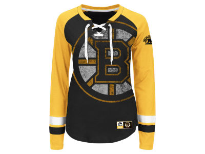 Boston Bruins Majestic NHL Women's Hip Check Long Sleeve T-Shirt