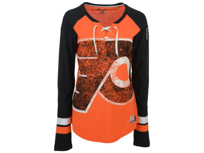 Philadelphia Flyers Majestic NHL Women's Hip Check Long Sleeve T-Shirt