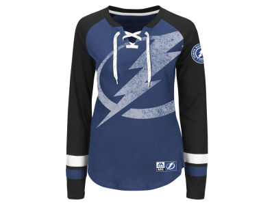 Tampa Bay Lightning Majestic NHL Women's Hip Check Long Sleeve T-Shirt